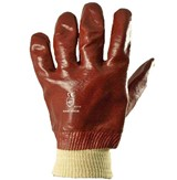 Red PVC knitted wrist glove